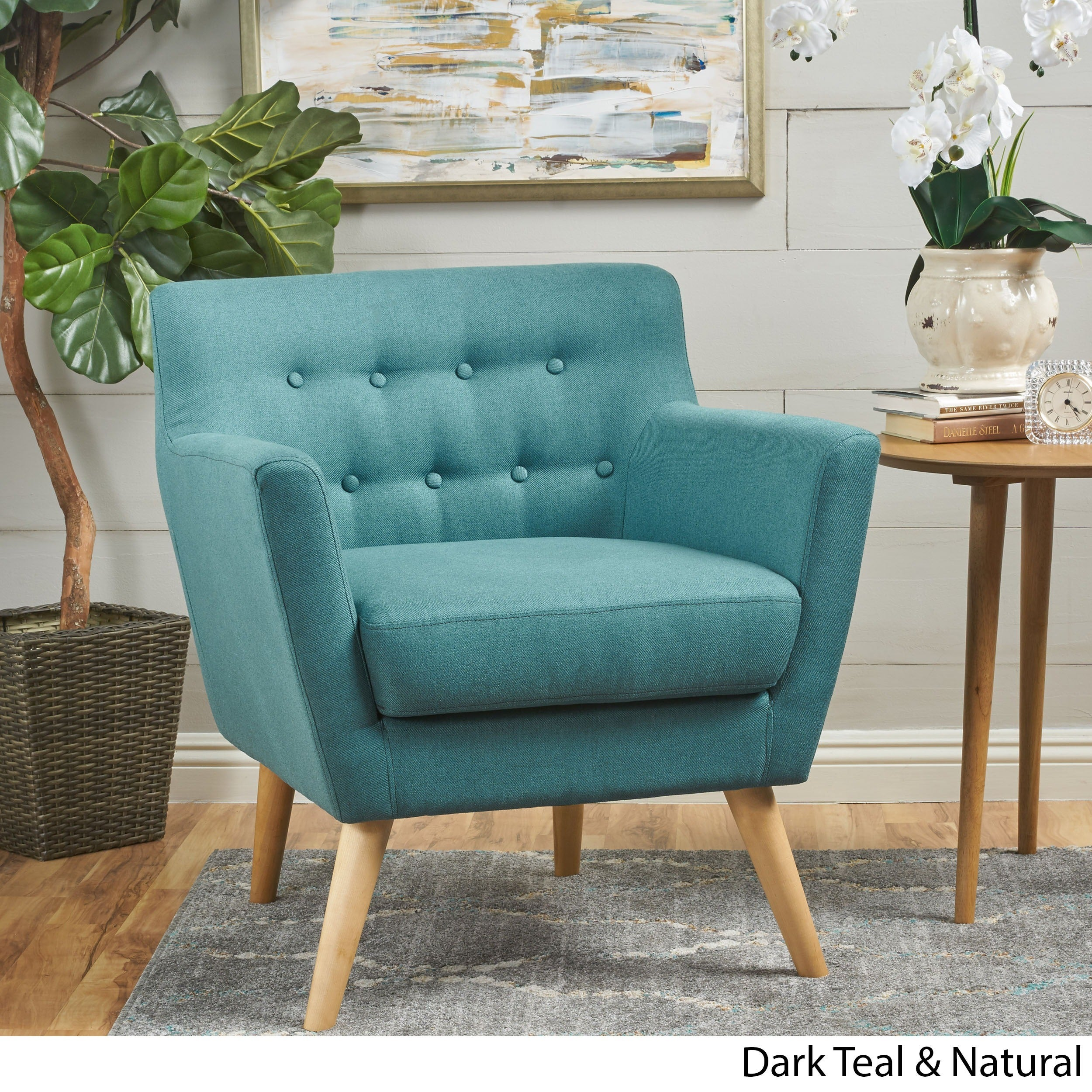 Meena Buttoned Mid Century Modern Fabric Club Chair By Christopher Knight  Home (3 Options Available