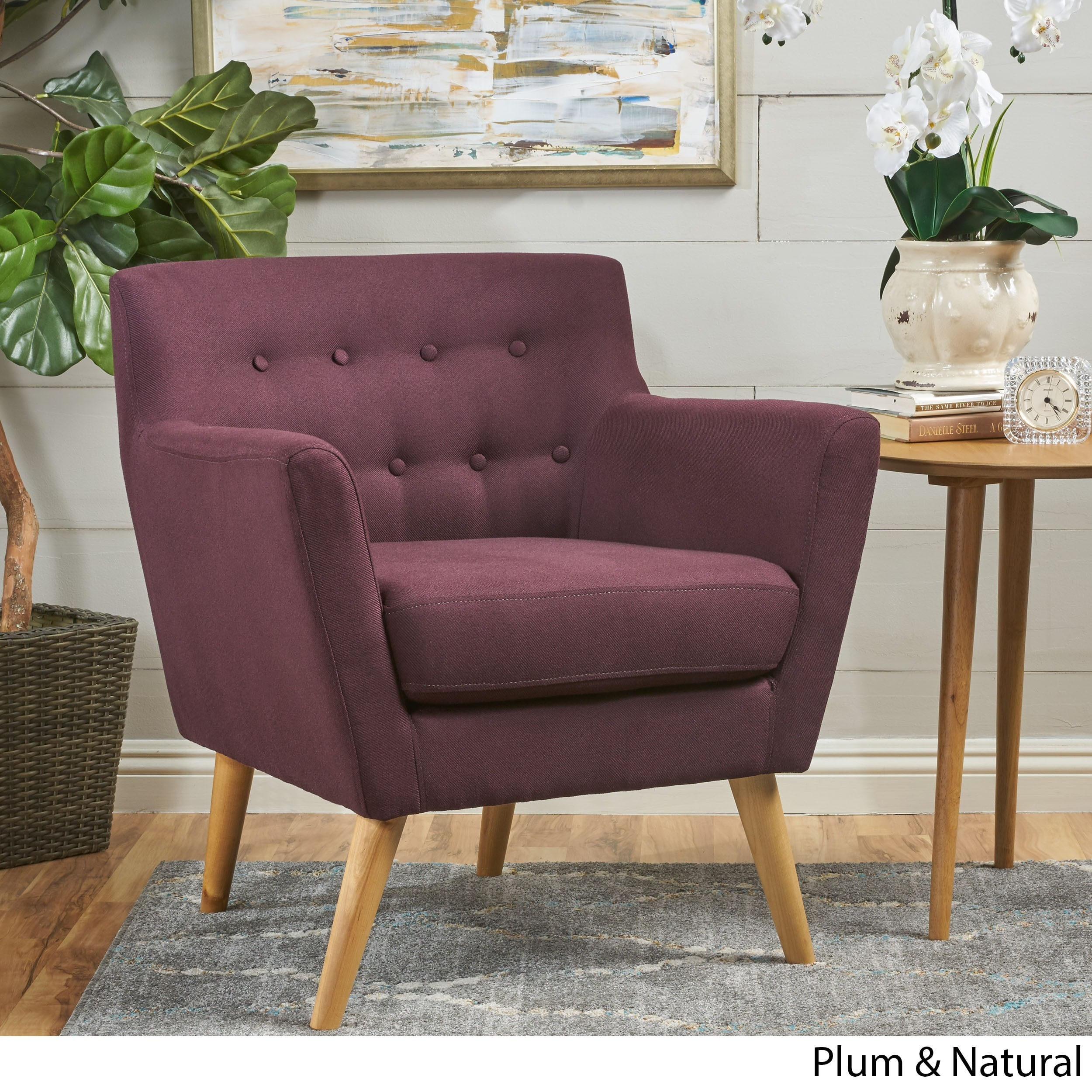 Meena Buttoned Mid Century Modern Fabric Club Chair By Christopher Knight  Home (Option: Plum