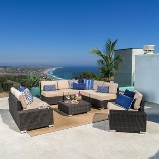 Marbella Outdoor 9-Seat Wicker Aluminum Sectional Sofa Set with Sunbrella Cushions by Christopher Knight Home