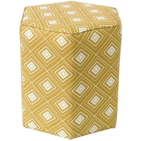 Skyline Furniture Hexagon Ottoman in Diamond Yellow