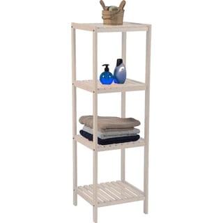 Evideco Bathroom 3 or 4 Tier Tower Shelf Free Standing Pine White
