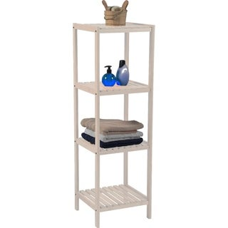 Evideco Bathroom 3 or 4 Tier Tower Shelf Free Standing Pine White