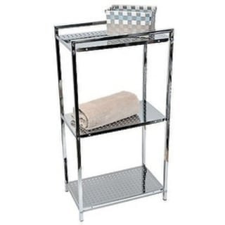 Evideco Storage Floor Cabinet Tower 3-tier Metal Chrome