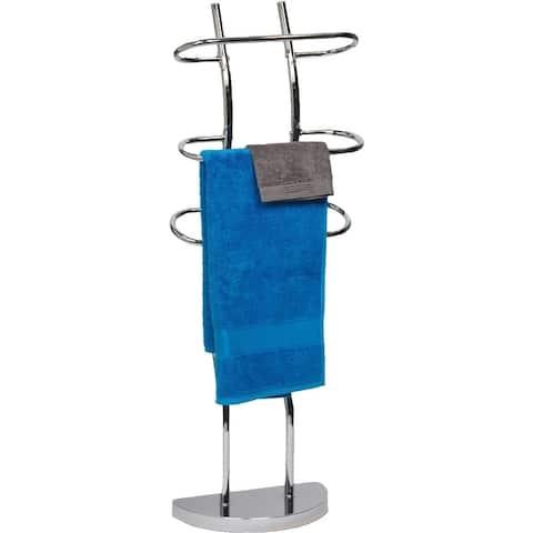 Evideco Free Standing Bath Towel Valet 3 Curved Bars Chrome Metal