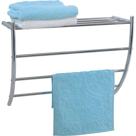 Evideco Wall Mounted Towel Rack Organizer 1 Shelf 3 Bars Metal