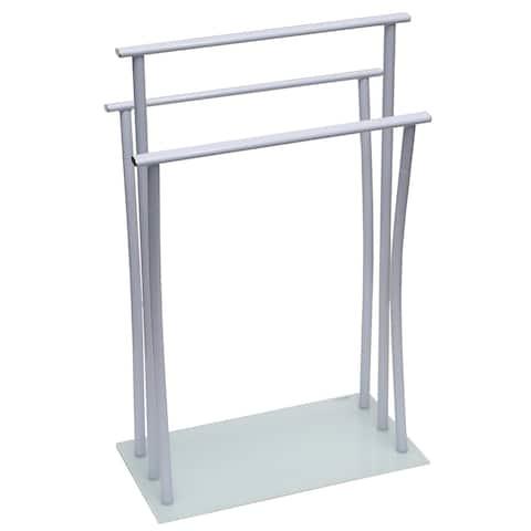 Evideco Free Standing Bath Towel Rack 3 Bars Metal White Glass Base