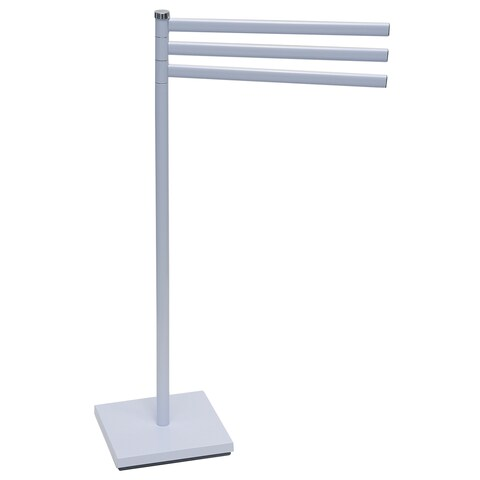Evideco Free Standing 3 Swiveling Arms Towel Rack Square Base White