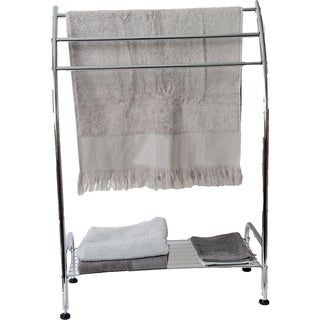 Evideco Free Standing Bath Towel Rack 3 Curved Bars and Shelf Metal