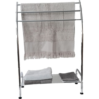 Evideco Free Standing Bath Towel Rack 3 Curved Bars and Shelf Metal