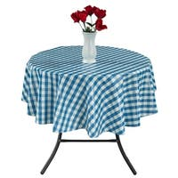"Berrnour Home 55"" Round Indoor & Outdoor Checkered Design Tablecloth"