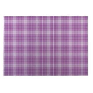 Kavka Designs Purple Coffee Donut Plaid Indoor/Outdoor Floor Mat ( 4' X 6' )