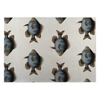 Kavka Designs Blue/ Gold/ Brown/ Ivory Blue Fish Indoor/Outdoor Floor Mat - 4' X 6'