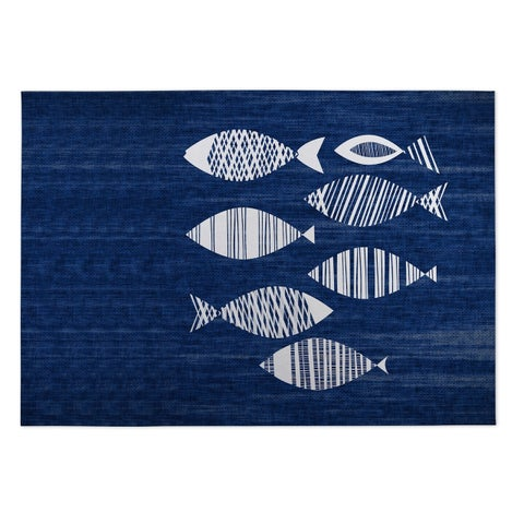 Kavka Designs Blue/ Ivory Fish Indoor/Outdoor Floor Mat ( 4' X 6' ) - 4' x 5'