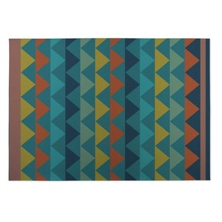 Kavka Designs Blue/ Yellow/ Orange White Caps Indoor/Outdoor Floor Mat ( 4' X 6' )