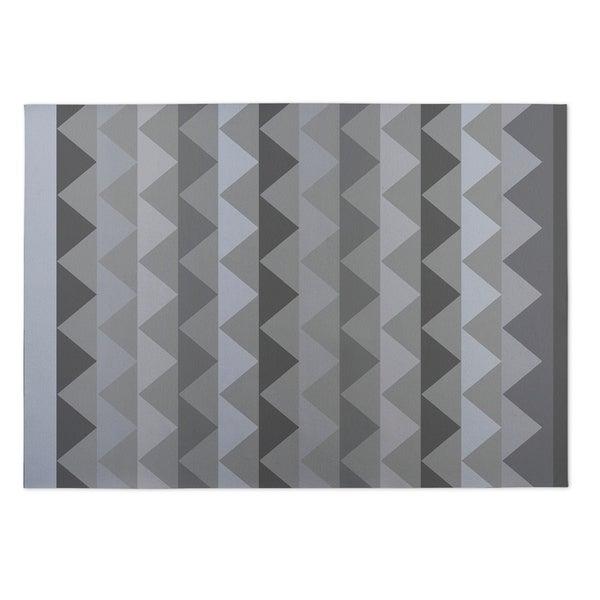 Kavka Designs Grey White Caps Indoor/Outdoor Floor Mat ( 4' X 6' ) - 4' x 5'