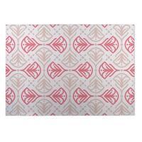 Kavka Designs Ivory/ Pink/ Tan Kissing Tulips Indoor/Outdoor Floor Mat - 4' X 6'
