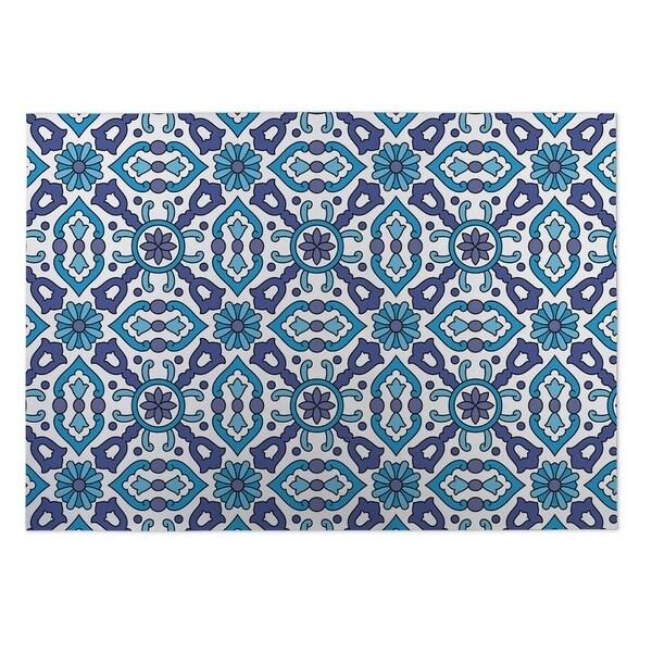 Kavka Designs Blue Kaleidoscope Indoor/Outdoor Floor Mat ( 4' X 6' ) - 4' x 5'