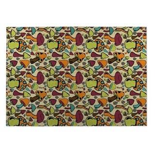 Kavka Designs Green/ Orange/ Purple Mushroom Field Indoor/Outdoor Floor Mat ( 4' X 6' )