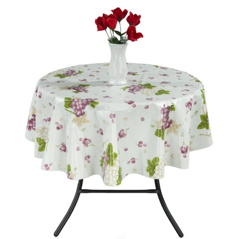 "Berrnour Home Vinyl 55"" Round Indoor & Outdoor Tablecloth"