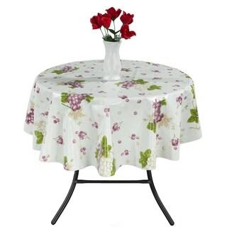 "Berrnour Home Vinyl 55"" Round Indoor & Outdoor Tablecloth"