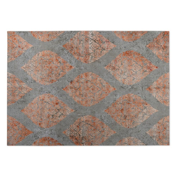 Kavka Designs Grey/ Orange Ascent Indoor/Outdoor Floor Mat ( 5' X 7' ) - 5' x 7'