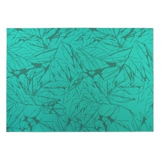 Kavka Designs Green Leaves Indoor/ Outdoor Floor Mat (5'x7')
