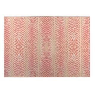 Kavka Designs Palms Blush Pink/ Orange Indoor/ Outdoor Floor Mat (5' x 7')