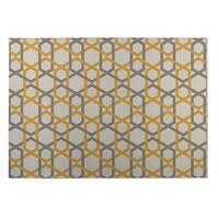 Kavka Designs Ivory/ Gold/ Grey Sliding Hexagons Indoor/Outdoor Floor Mat ( 5' X 7' ) - 5' x 7'