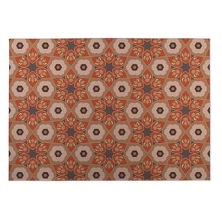 Kavka Designs Origami Rust/Grey Indoor/Outdoor Floor Mat (5' x 7')