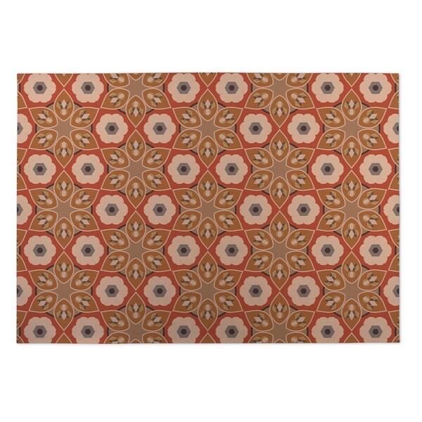 Kavka Designs Rust Origami Indoor/Outdoor Floor Mat ( 5' X 7' ) - 5' x 7'