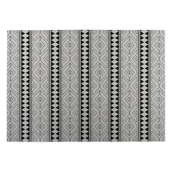 Kavka Designs Ivory/ Black Diamante Indoor/Outdoor Floor Mat ( 5' X 7' ) - 5' x 7'