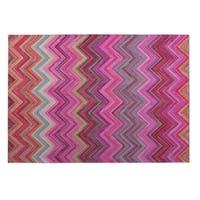 Kavka Designs Pink/ Purple/ Blue Pink Chevron Indoor/Outdoor Floor Mat ( 5' X 7' ) - 5' x 7'
