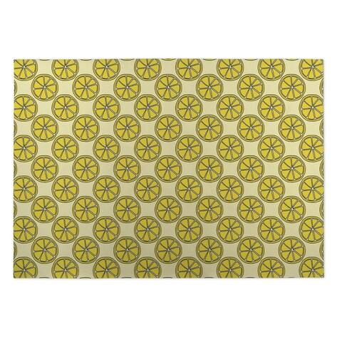 Kavka Designs Yelliow Dream Of Garden Indoor/Outdoor Floor Mat ( 5' X 7' ) - 5' x 7'