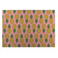 Kavka Designs Green/ Pink/ Yellow Pineapple Indoor/Outdoor Floor Mat - 5' x 7'