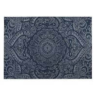 Kavka Designs Blue/ White Mandala Indoor/Outdoor Floor Mat ( 5' X 7' ) - 5' x 7'