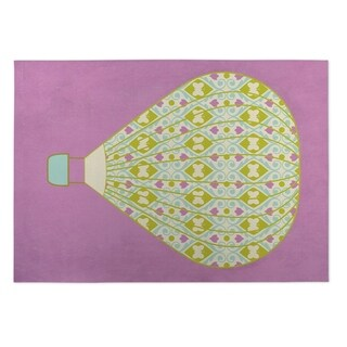 Kavka Designs Purple/ Pink/ Green/ Blue Hot Air Balloon Indoor/Outdoor Floor Mat ( 5' X 7' ) - 5' x 7'