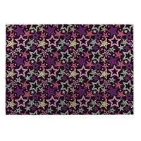 Kavka Designs Purple/ Blue/ Pink Star Spangled Indoor/Outdoor Floor Mat - 5' x 7'
