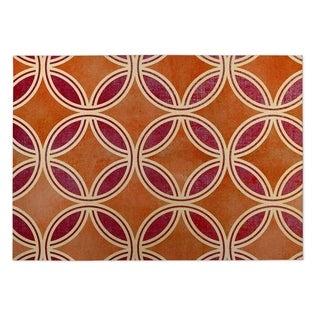 Kavka Designs Palm Scope Orange/ Red Indoor/ Outdoor Floor Mat (5' x 7')