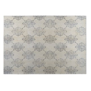 Kavka Designs Tan/ Grey Old Damask Indoor/Outdoor Floor Mat - 5' x 7'