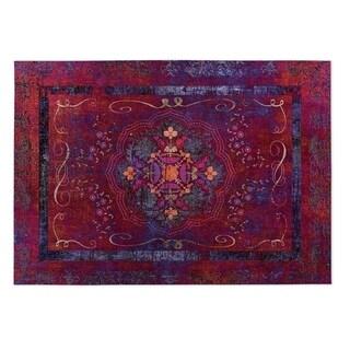Kavka Designs Red Boho Dreams Indoor/Outdoor Floor Mat ( 5' X 7' ) - 5' x 7'