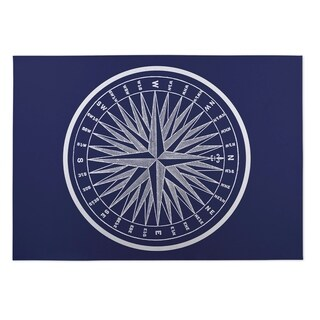 Kavka Designs Blue/ White Nautical Compass Indoor/Outdoor Floor Mat ( 5' X 7' ) - 5' x 7'