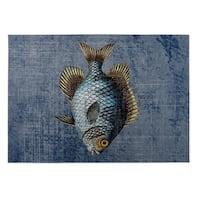 Kavka Designs Blue/ Gold/ Brown Fish Indoor/Outdoor Floor Mat ( 5' X 7' ) - 5' x 7'