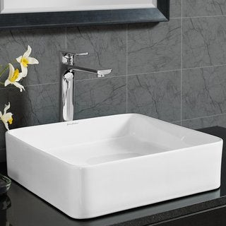 Swiss Madison Concorde® Slender Square Ceramic Bathroom Vessel Sink