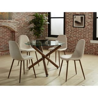 Round kitchen dining room sets for less overstock 5 pc round contemporary dining set sxxofo