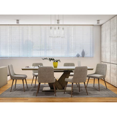 7 Pc Contemporary Dining Table Set with Butterfly Leaf