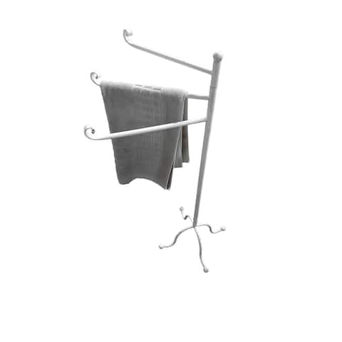 Evideco Freestanding 3 Arms Towel Rack Metal Vintage Le Bain Old White