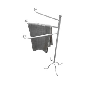 Evideco Freestanding 3 Arms Towel Rack Metal Vintage Le Bain Old White