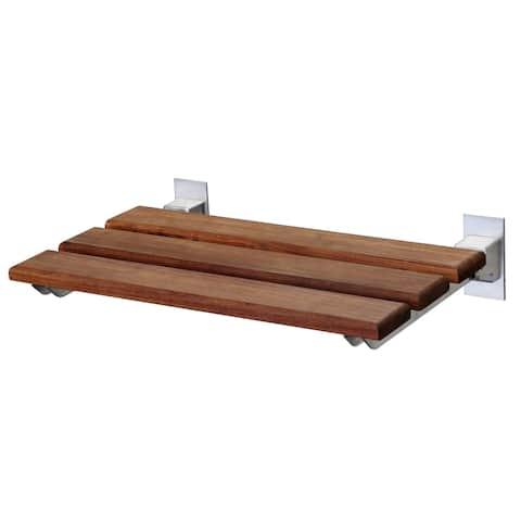 ANZZI Bohemian 12.4 in. Teak Wall Mounted Shower Seat