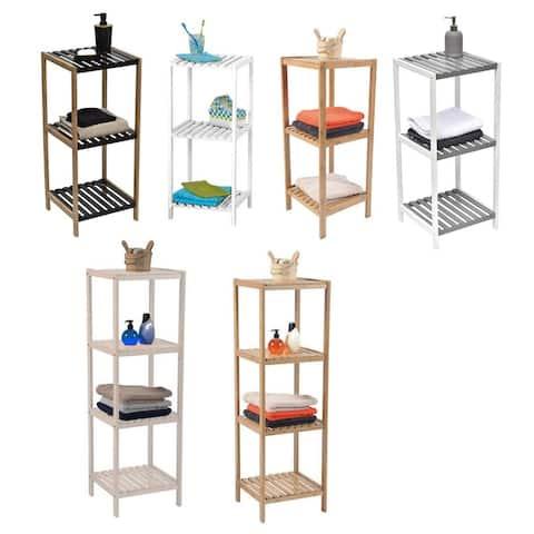 Evideco Bathroom 3 or 4 Tier Tower Shelf Free Standing Bamboo