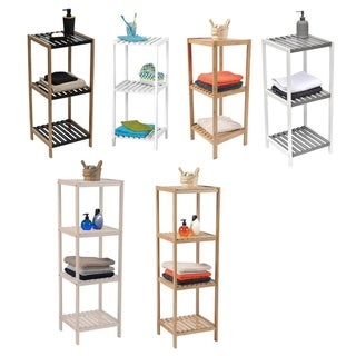 Evideco Bathroom 3 or 4 Tier Tower Shelf Free Standing Bamboo